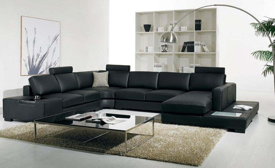schwarz leder sofa moderne gro e gr e u f rmigen sofa set mit licht. Black Bedroom Furniture Sets. Home Design Ideas
