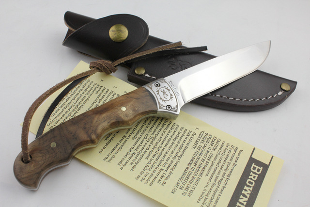 OEM Browning Shadow Wood Handle Outdoor Camping Hunting Knife Jungle Survival Fixed Blade Original Knife Genuine