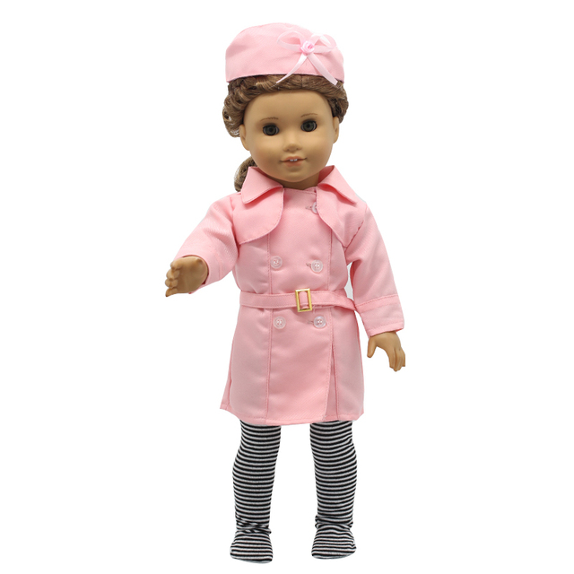 American Girl Doll Accessories Pink Stewardess Uniform Suit Doll Clothes for 18 Inch Dolls MG-203