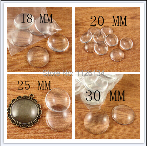 18 mm 20mm 25 mm 30 mm Clear Round Glass Dome Cabochon Beads(China (Mainland))
