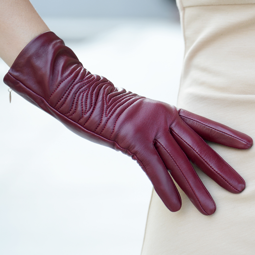 Leather gloves female thermal medium-long sheepskin women genuine leather - Better PPE Products Co.,Limited store