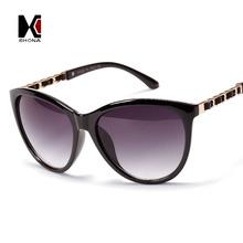 Retro Women Cat Eye Sunglasses Brand Designer Vintage Metal Chain PU Leather Decoration Sun Glasses UV 400(China (Mainland))