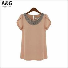 NEW 2015 fashion women t shirt casual women clothing solid chiffon tee o-neck women's T-shirt short sleeve tshirt AG-2711(China (Mainland))