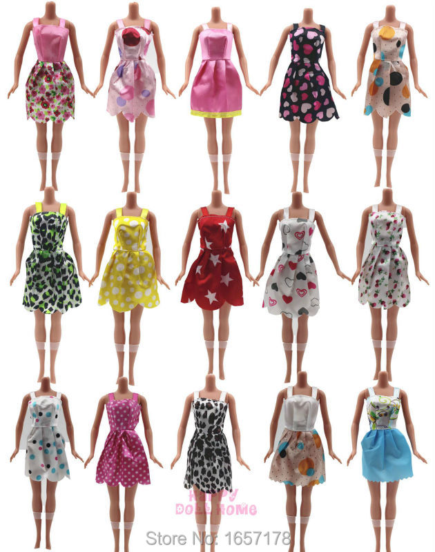 Hot Sell 10 Pcs Mix Sorts Handmade Different Colourful Fashion Dress Cute Cool Clothes For Barbie Doll Accessories Child Gift