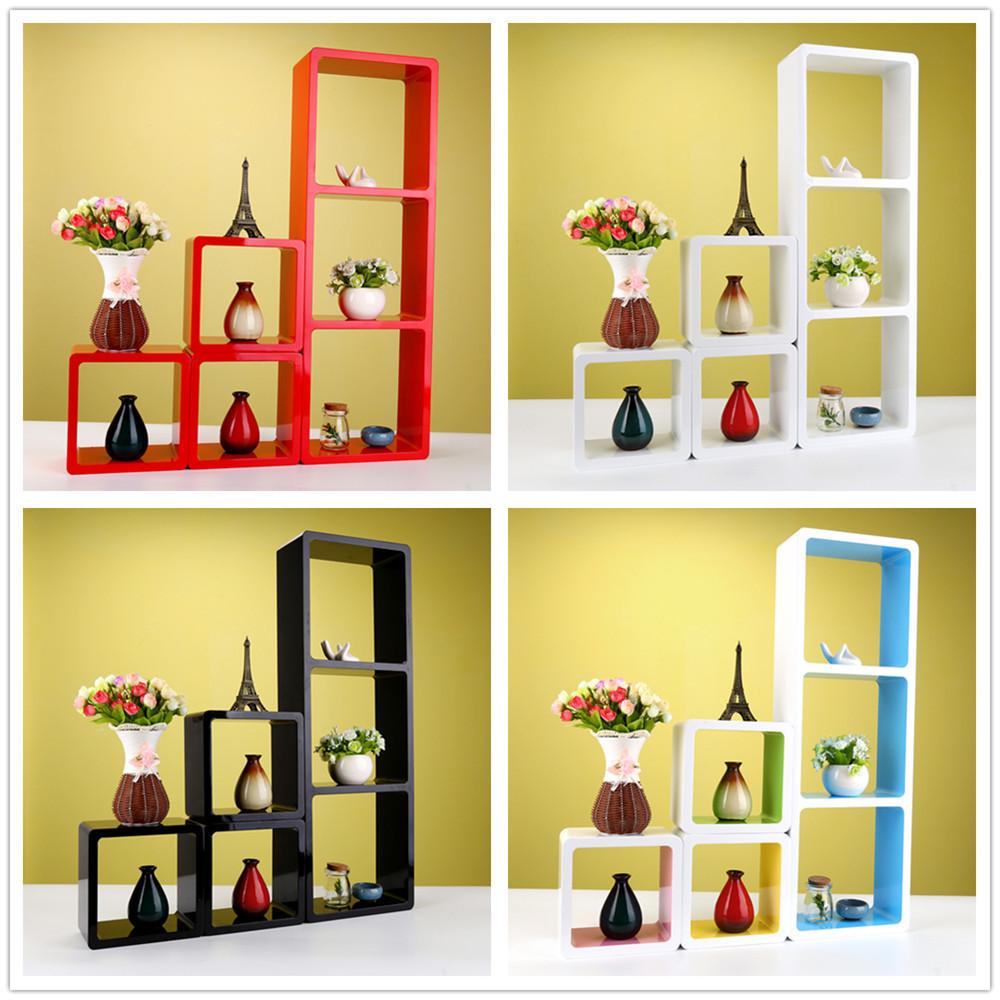 Modern Set of 6 Floating Wall Shelves Storage Cube Decorative Unit Shelf Display Rack(China (Mainland))