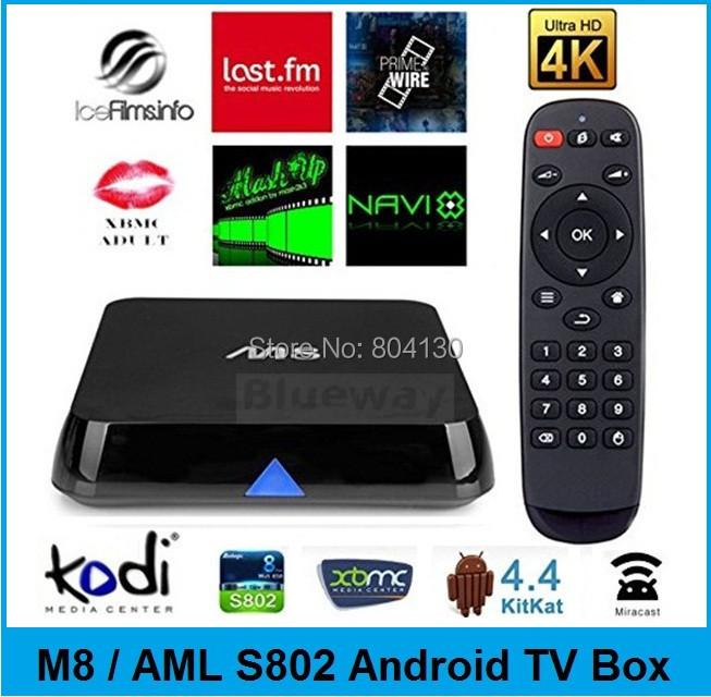 M8 Android TV Box Amlogic S802 Quad Core 2G/8G XBMC Kodi 14.2 Addons 4K HDMI 2.4G/5G Dual WiFi Stream Sports Movies Mini PC(China (Mainland))