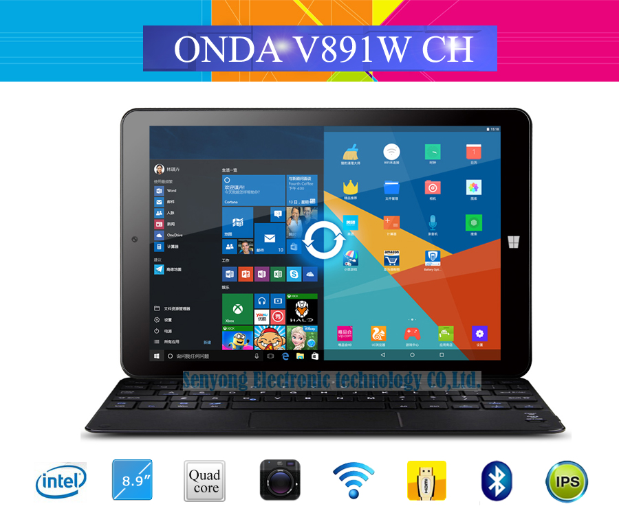 "8.9"" IPS Onda V891W CH Dual Boot Windows 10 + Android 5.1 Dual OS Tablet PC Intel X5-Z8300 Quad Core 2GB/32GB Dual Camera HDMI(China (Mainland))"