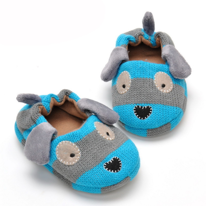 2016 Kids Slippers Coral Velvet Winter Children Shoes Cartoon Knitted Soft Sole 0-1 Years(China (Mainland))