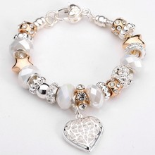 Hot sell 925 silver heart Charm Bracelet ,wholesale 925 sterling silver fit pandora bracelet&bangles for women fashion jewelry(China (Mainland))