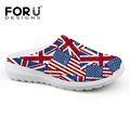 2016 New Novelty Summer Clogs Sandals Women Mesh Sandalia UK USA Flag Printed Sandalias Flat Slipper