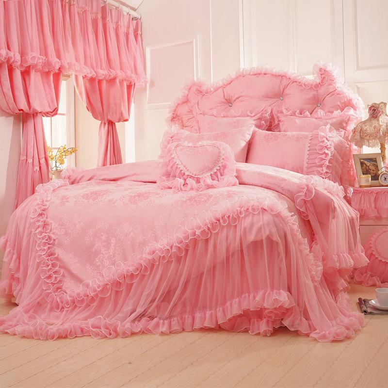 100% cotton viscose 6pcs palace Korean Pink bedding set Satin jacquard Princess Wedding Lace edge bed skirt home textile(China (Mainland))