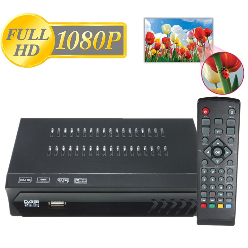 New Full HD DVB-S2 HDMI Digita Video Broadcasting Satellit TV Receiver Set Top Box With EU Plug Power Adapter For DVB-S/S2 Black
