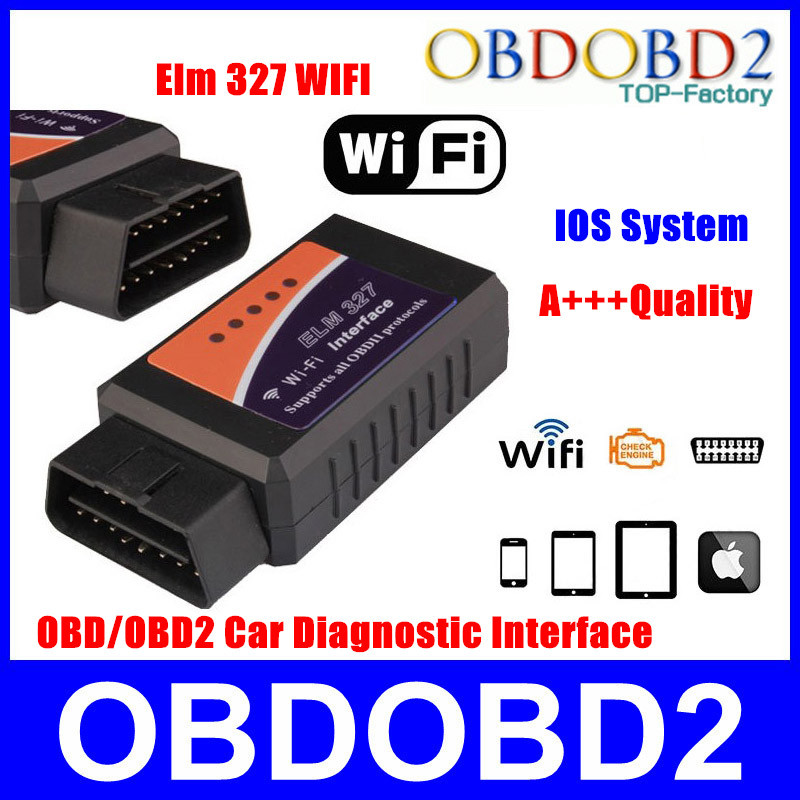 Best Price ELM Wifi 327 OBD 2 II Car Diagnostic Tool OBD Scanner Interface Support IOS System Elm327 Wifi With High Quality(China (Mainland))