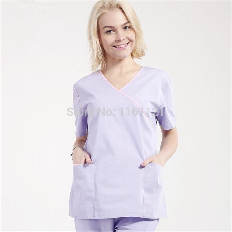 Nursing Scrubs Lab Coat 2015 Spring And Summer Women's Hospital Medical Scrub Set Clothes Short Sleeve free Shipping Surgical(China (Mainland))