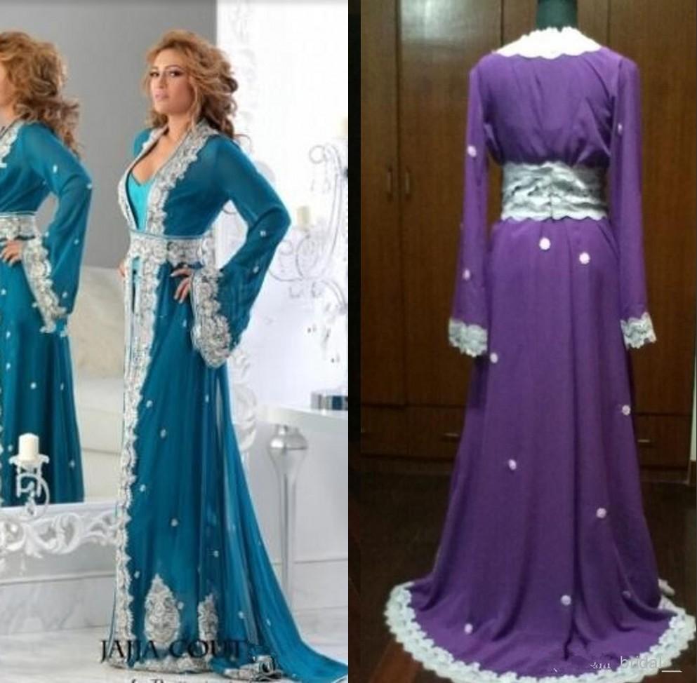 Plus Size Blue Mother Bride Dresses Arabic Kaftan Runway Evening Dress Long Sleeves Applique Abaya Dubai Gowns 2015 - Sunny Hebe store
