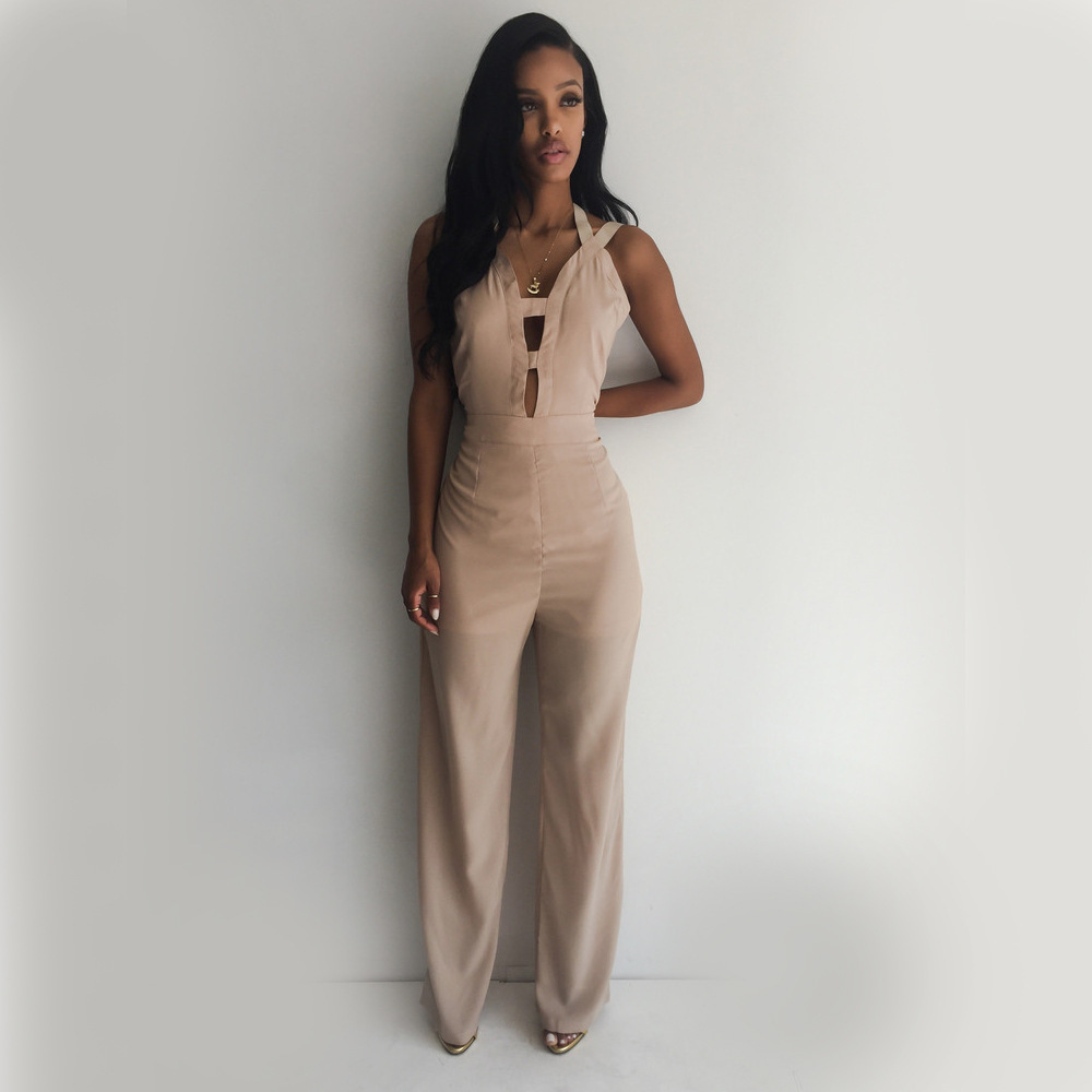 Sexy Hollow Out Back Cross Backless Loose Bandage Nightclub Womens Jumpsuit Bodysuit Halen Wide Leg Overalls Bodycon Romopers MK(China (Mainland))