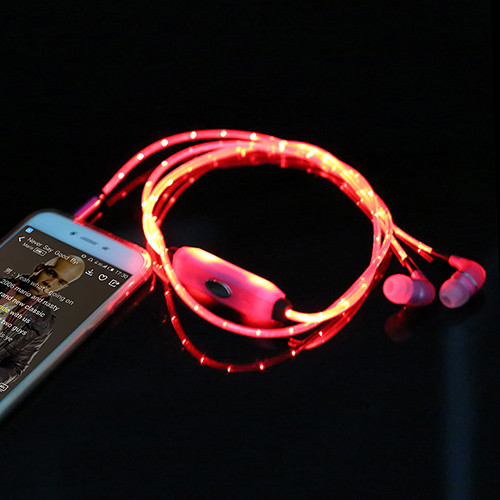 3.5mm Stereo Phone earphone Luminous Glow Earphone In-Ear Handsfree with Mic for iPhone Samsung HTC ect