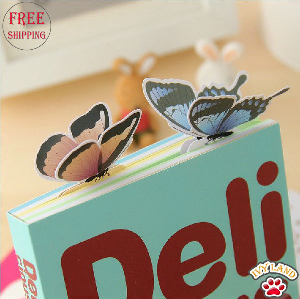 Free Shipping Novelty Gift 3D Bookmarks Paper Card Butterfly Bookmark For Books 50pcs/lot(China (Mainland))