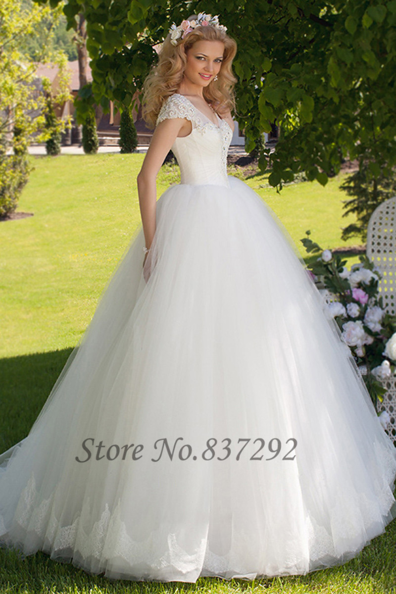 Hot sell white ball gown wedding dresses lace cap sleeve for Sell wedding dress for free