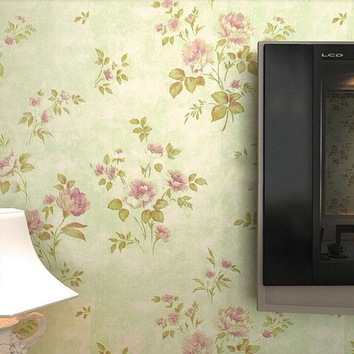 Pastoral pink floral wallpaper flower pvc wall paepr for for Red flower wallpaper living room