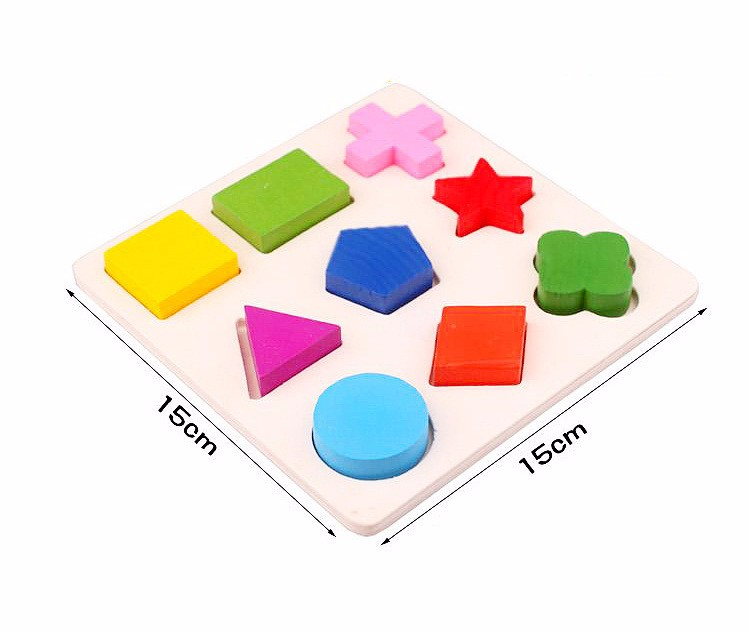 Preschool children's educational wooden jigsaw puzzle cognitive plate  geometry paired board Stacking Building Brain wooden toys - us215