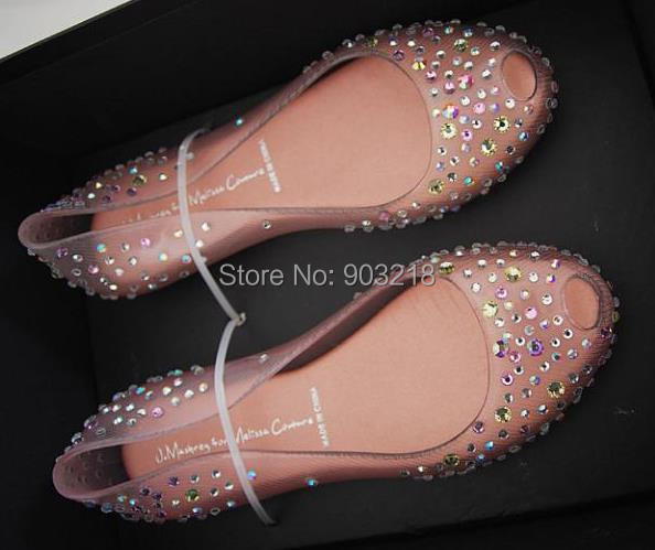 Transparent Crystal Rhinestone Jelly Flats Sandals Shoes Women Ballet Flat J.Maskrey for Melissa Couture Night Sky Edition(China (Mainland))