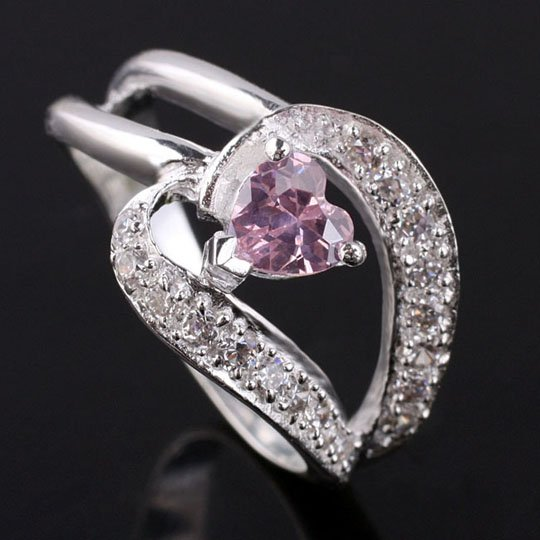 5x5cm Heart Stone Pink CZ Silver Ring for Women Size 8 YIN Gift for Friend JV0744(China (Mainland))