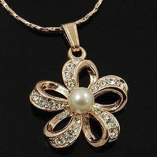 18K Rose Flower Gold Plated Pendant Necklace(China (Mainland))
