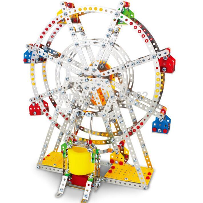 945 pcs/set Iron commander DIY 3D Puzzle Ferris wheel Model With Music&Lights music box Metal assemble kids toy(China (Mainland))