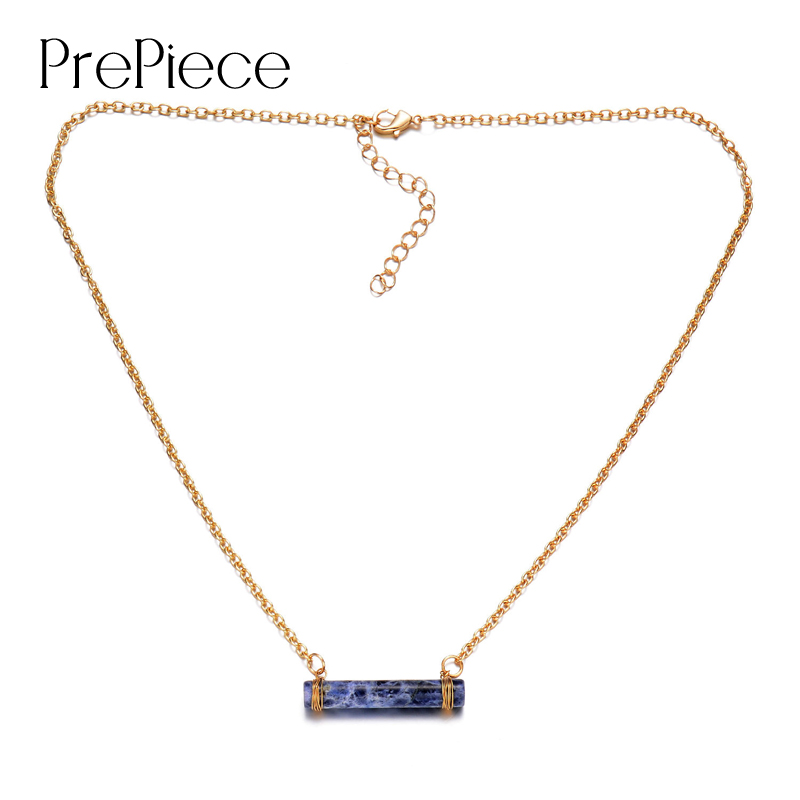 PrePiece Natural Rose Quartz Cylindrical Crystal Pendant Necklace Gold Plating 2016 New Handmade Europe Jewelry Women PN0041 - store