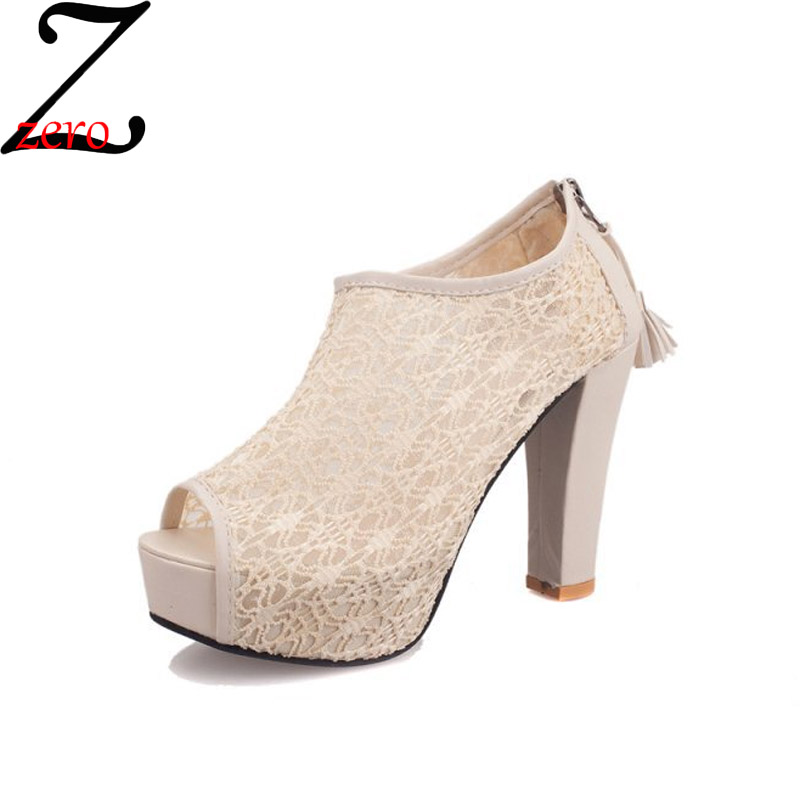 Zero-z 2016 Summer New Women High Heel Sandals Lace Sexy Platform Peep Toe Sandals Hollow Out Fashion Sandals Size 35-39