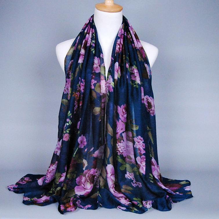 Wholesale fashion small floral cotton voile 100% viscose long shawls wrap beach silk head muslim autumn scarves/scarf 10pcs/lot(China (Mainland))