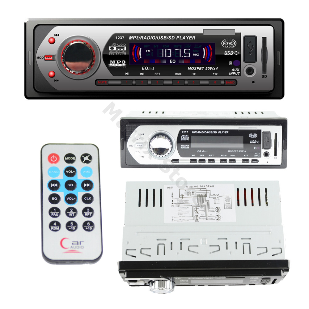 Car Vehicle Music Stereo In-Dash 1-Din MP3 Player Radio USB/SD/AUX/MMC 50wX4 Memory Store FM EQ Model LG-1237(China (Mainland))