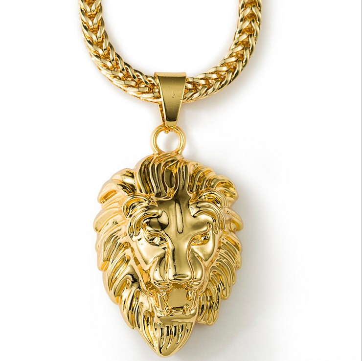 18K Masculino Charm Lion Head Necklace Men Bling Bling Hip Hop Jewelry Hiphop Gold Rapper Chain Neckalce Women Men Accessories(China (Mainland))