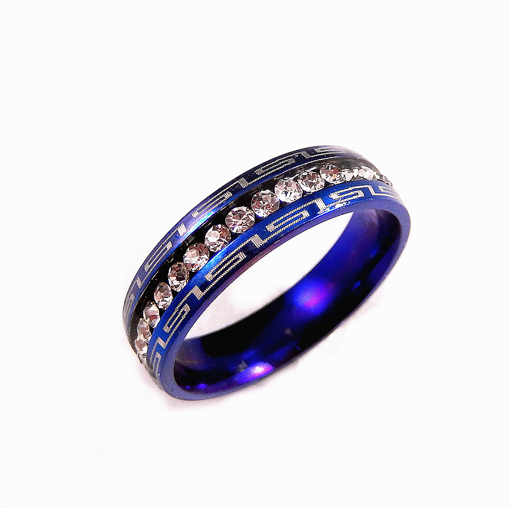 Blue Stainless Steel Clear CZ 5mm Wedding Band Engagement Ring Size 5 9 in Ri