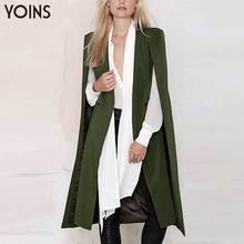 YOINS Brand Clothing 2016 Women Fashion Split Long Sleeve Casual Cape Suit Blazer Ladies Coat Femininas Formal Outwear S-XXL(China (Mainland))