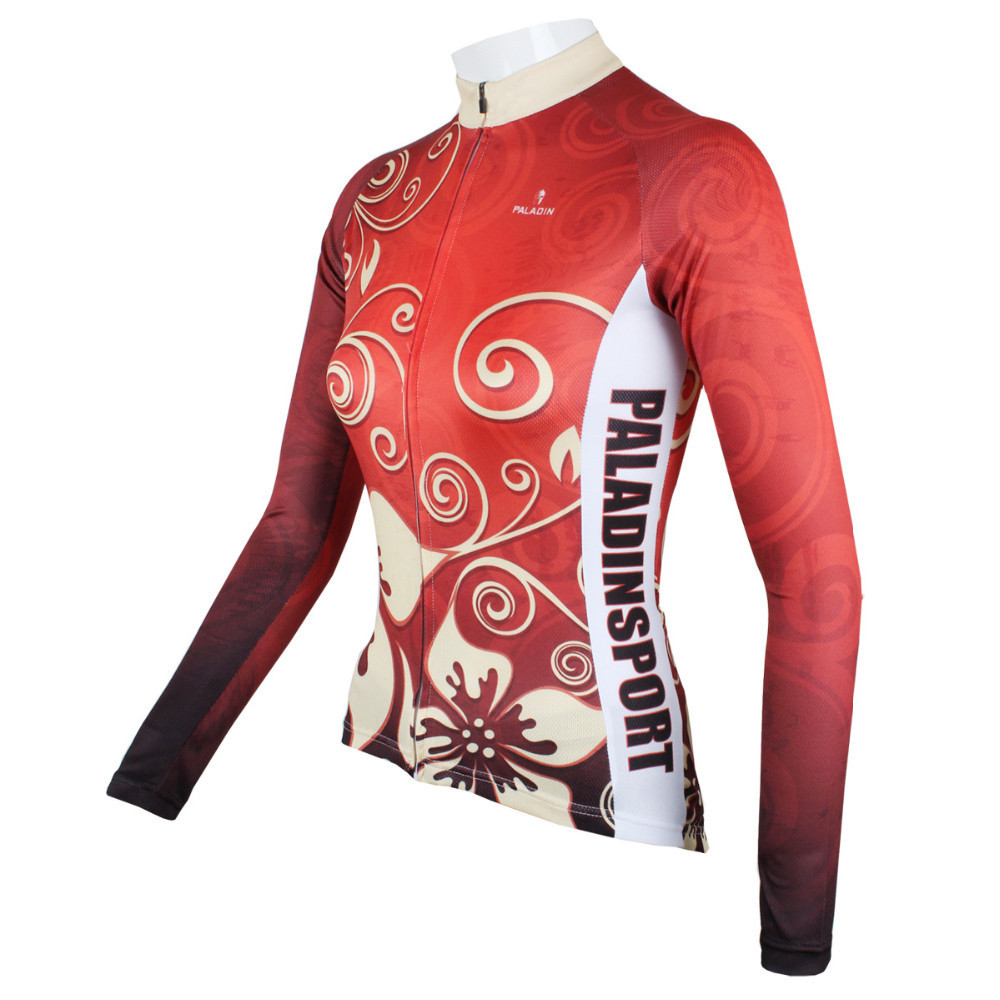2014 New arrival Red Sacred Flower Women's Bicycle Long sleeve jersey Cycling Sportswear winter Clothing Cycling jersey Top(China (Mainland))