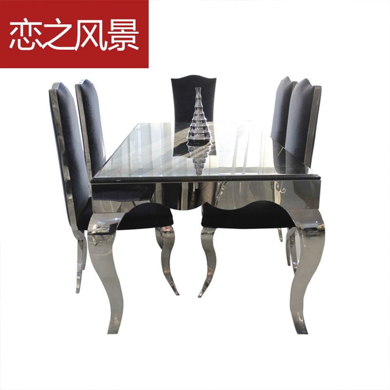 Floating Landscape high-end European fashion stainless steel dining table marble chairs combination neoclass - ciny store