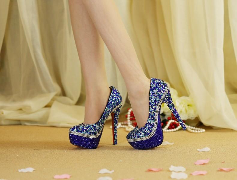 Love Moments Handmade Custom Blue Wedding Shoes Ladies Bridal crystal High Heel with platform high thin heel  Party Dress shoes