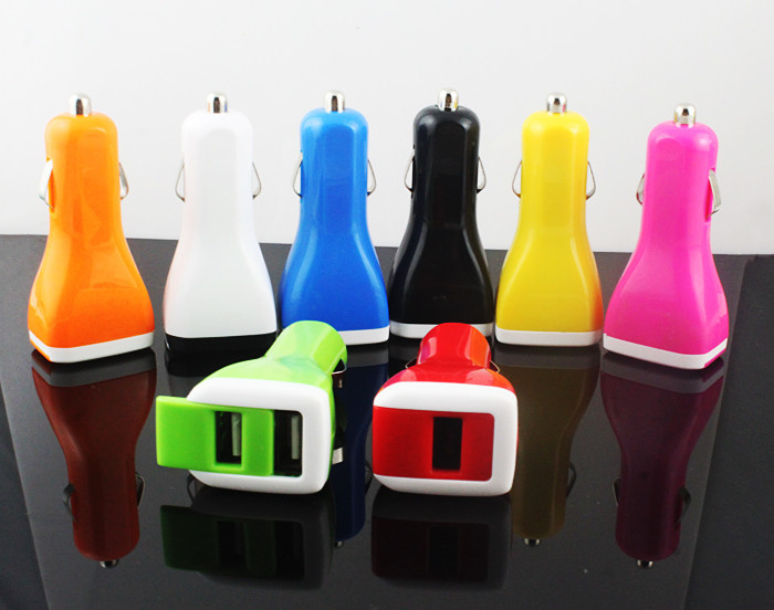 Colorful Universal Dual 2 USB car charger power supply adapter For iPhone 6s 6 PLUS 5S 4S For LG Sony Htc Phone Car Charger #887(China (Mainland))