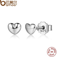 BAMOER 100% 925 Sterling Silver Petite Hearts Stud Earrings for Women Silver Small Earrings Fine Jewelry brincos PAS441(China (Mainland))