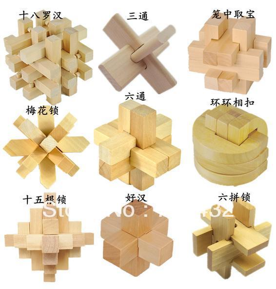 Adult wooden 9 piece set IQ Test Brain Teaser Nine chain Metal Wire Puzzles Reliever Stress - luao riva store