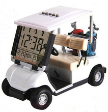 Assorted color newest mini golf cart clock desktop golf gift(China (Mainland))