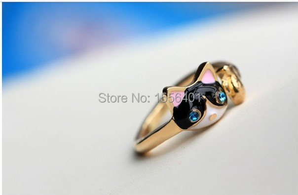 16mm Size Hot Fashion New Style Classic Design Super Cute Cat With Rhinestone Ring For Girls Gift(China (Mainland))
