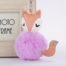 2019 Bola De Pêlo Pompom Fofo Bonito Fox Mulheres Faux Rabbit Fur Pompom Saco Cadeia Chave Do Carro Chaveiro Trinket Pom Pom chave Do Presente Titular(China)