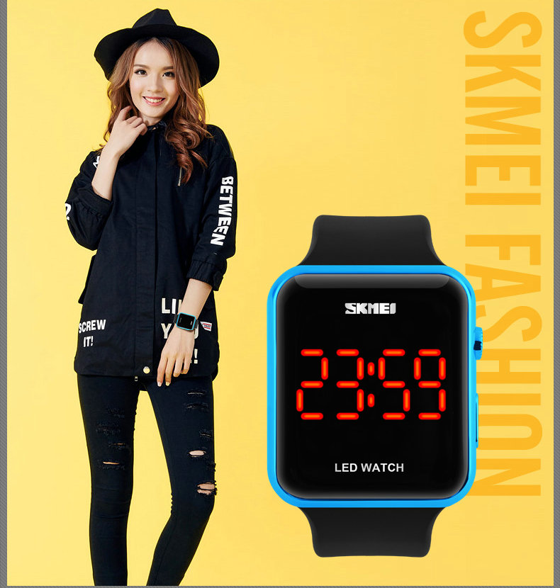 Новый продукт сократился мальчики настоящее Водонепроницаемый Китай Светодиодные Часы Спорт Мода Стиль мужская Спортивные часы красный календарь Цифры