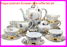 coffee tea sets Bone China material with Prague postmark European style drinkware 15pcs Coffee cup and saucer elegant