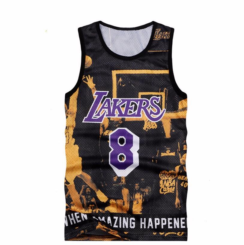 2015 летний стиль мужчины баскетбольного матча 8 Gridding топы мальчиков спорт тонкий рукавов футболки мужская джерси топы