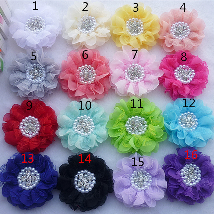 120pcs/lot 9CM 16colors Newborn Lace Chiffon Flower+Rhinestones Pearls For Hair Accessories Shabby Fabric Flowers For HeadbandsОдежда и ак�е��уары<br><br><br>Aliexpress