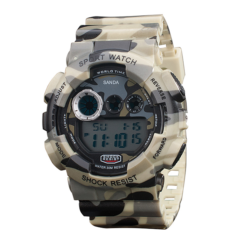 2016 Camouflage Army Watch Mens Digital Sports LED Watches Men Dual Time Sports Digital Stop Diving Watch Men Military Watches<br><br>Aliexpress
